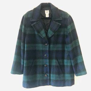 Gap Navy and Green Checkered Wool Pea Coat